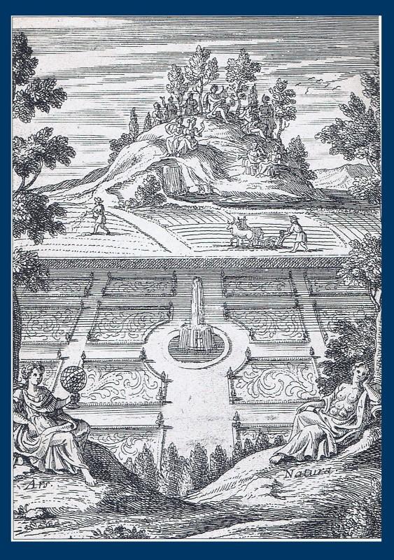 Frontispiece Curiositez de la nature et de l'art by l'Abbé Pierre le Lorrain de Vallemont (1705)